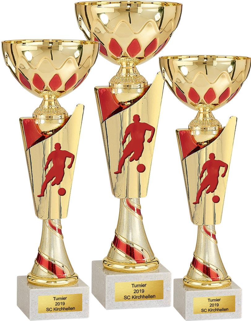 Fußball 3er Pokalserie 31-36cm Figuren Pokal