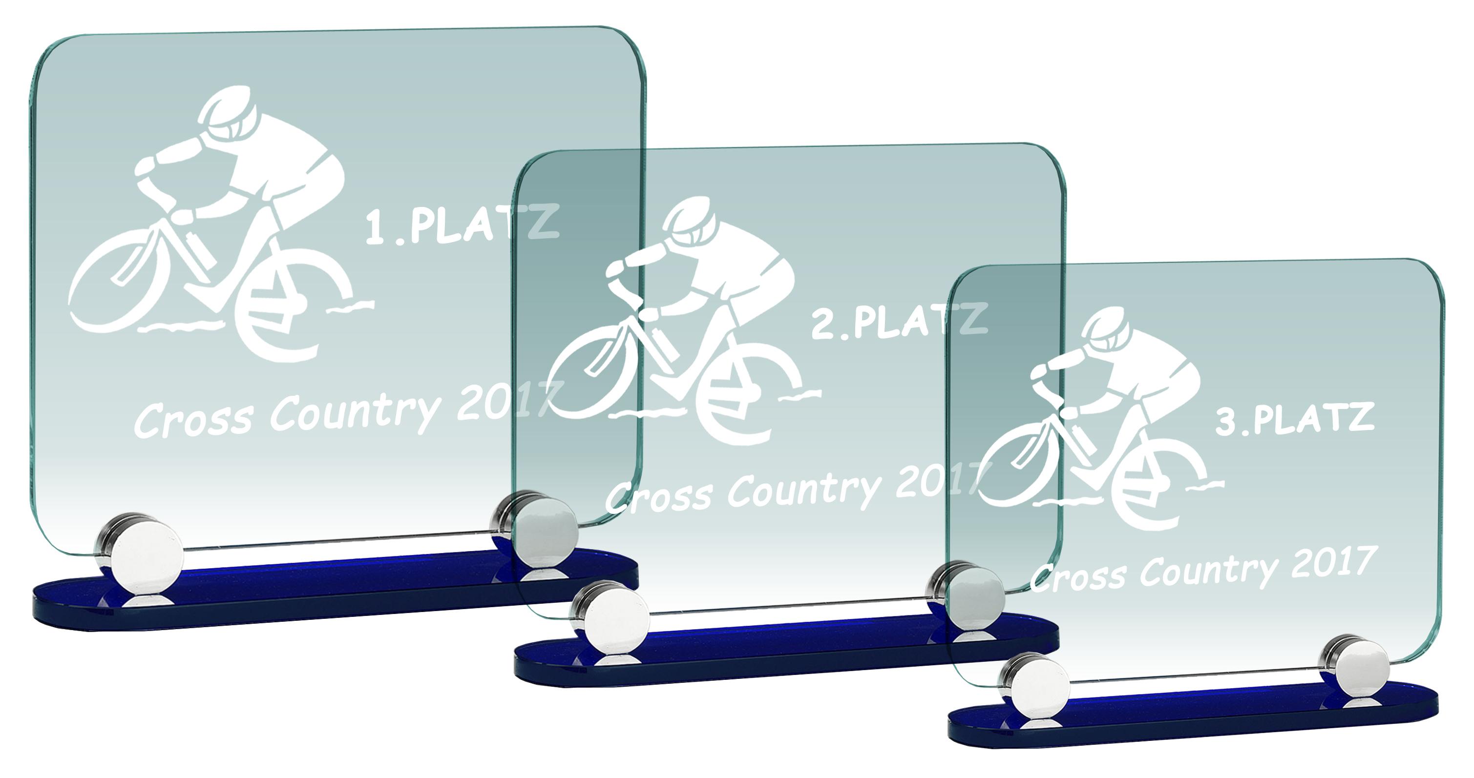 Glaspokale Glastrophäen alle Sportarten 19,5-23,5 cm Glastrophäen