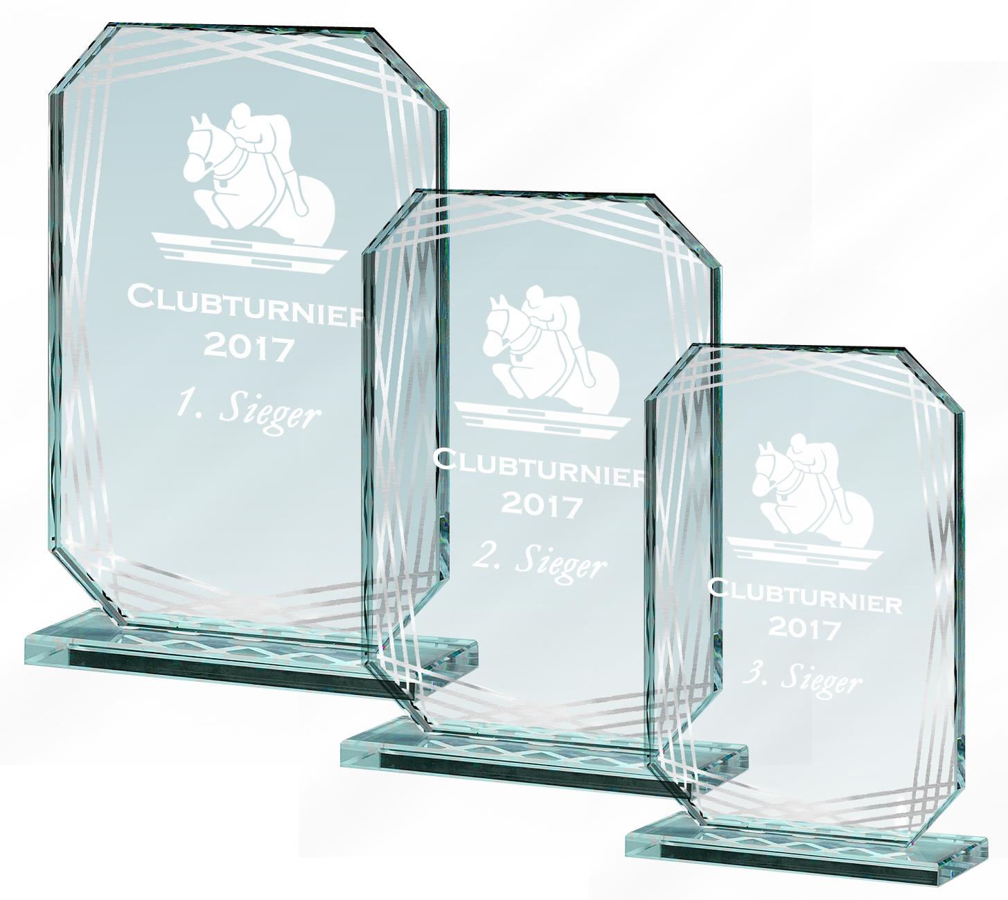 Glaspokale Glastrophäen 17-21 cm, 10 mm dick Glastrophäen
