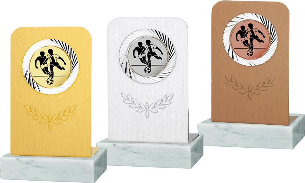 Trophäe aus Aluminium 10cm Figuren Resinfiguren mit Emblem