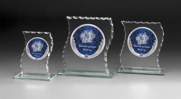 Trophäe/ Glastrophäenserie: 69530-69533, 14,0 - 18,8 cm, 6 mm dick