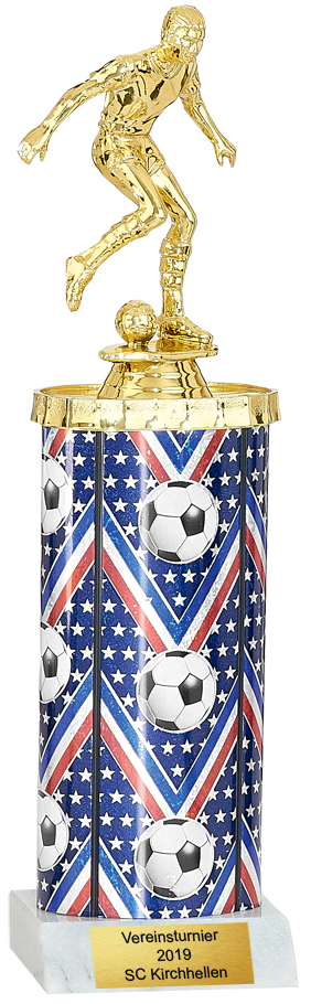 NEU! US-Trophy Fußball Trophäe 29cm Figuren Pokal ohne Emblem