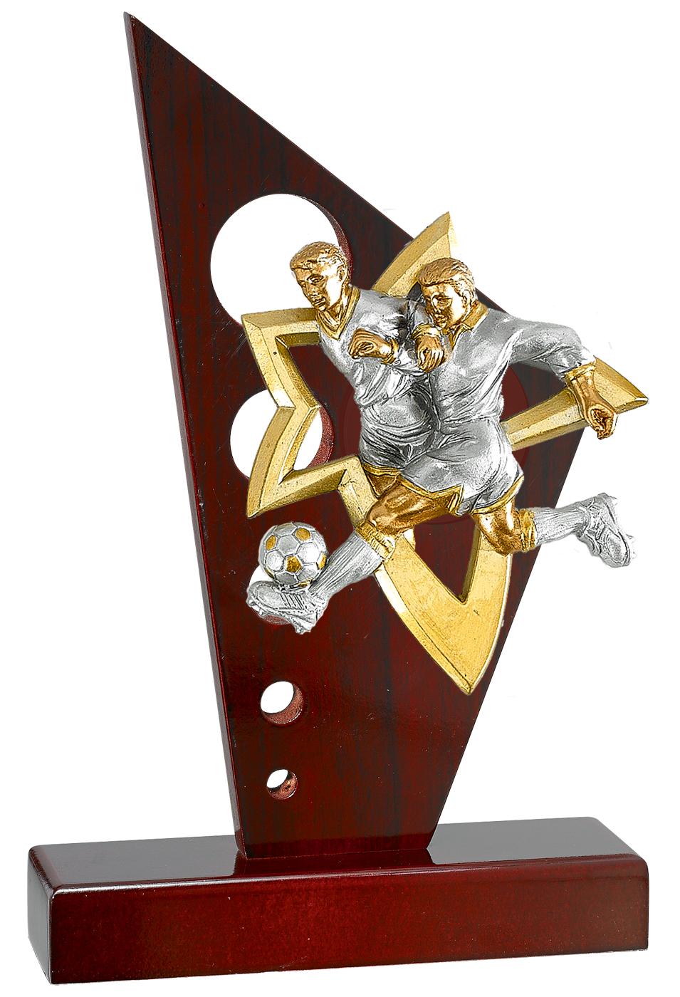 Holzpokal Trophäe Fußball 3er Serie  21-25cm Pokale Pokale ohne Deckel