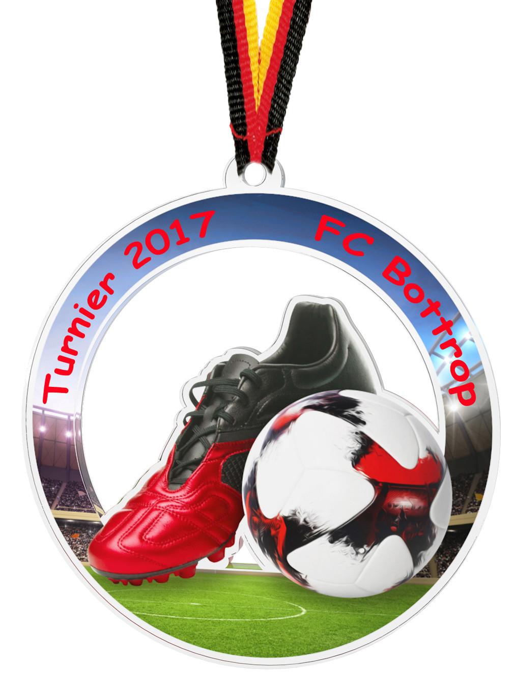Fußball Pokal 20 x Medaillen 50mm mit Deutschland-Bändern Turnier Emblem Pokale Pokale & Preise