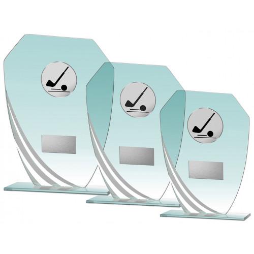 Auswahl aus Glastrophäenserie weiß 17,5 bis 21,5 cm hoch