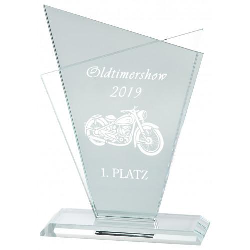 Glastrophäen preiswert Motoradrennen