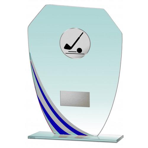 Auswahl aus Glastrophäenserie blau 17,5 bis 21,5 cm hoch