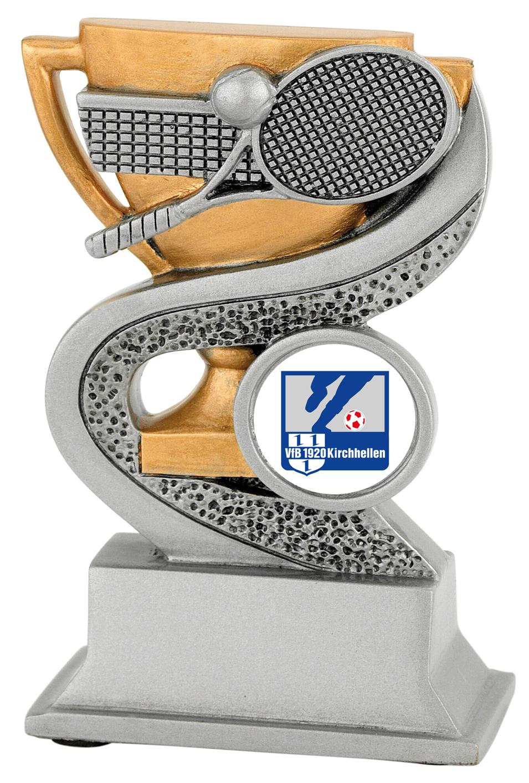 Tennis-Trophäe Kunstharz- 12 cm hoch Figuren Resinfiguren mit Emblem