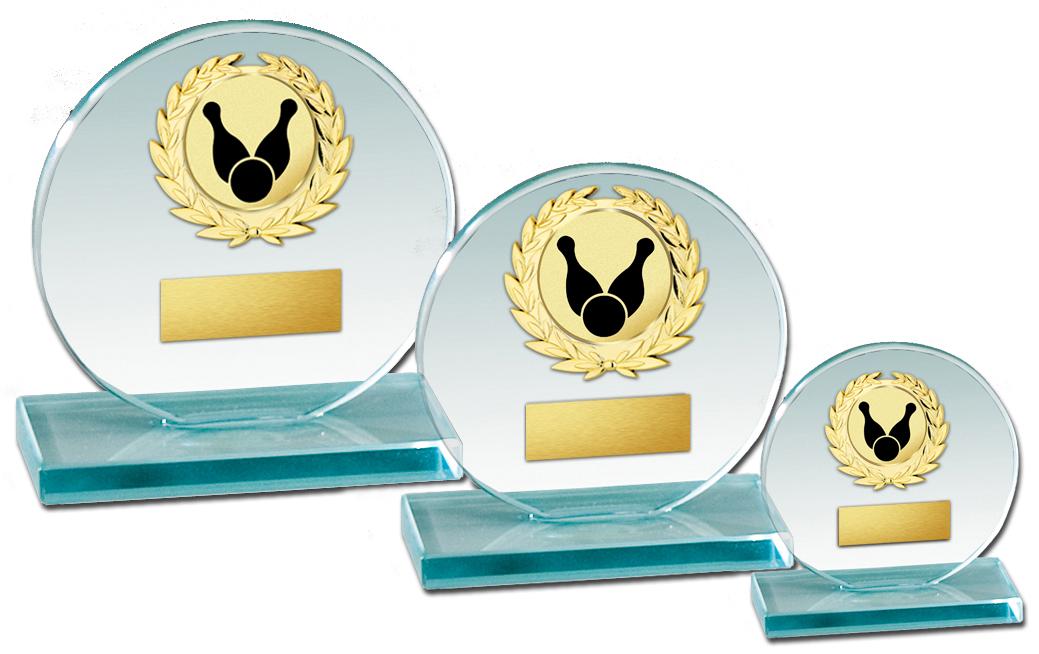 Glaspokal Serie 10-20cm Glastrophäen Glastrophäen mit Emblem