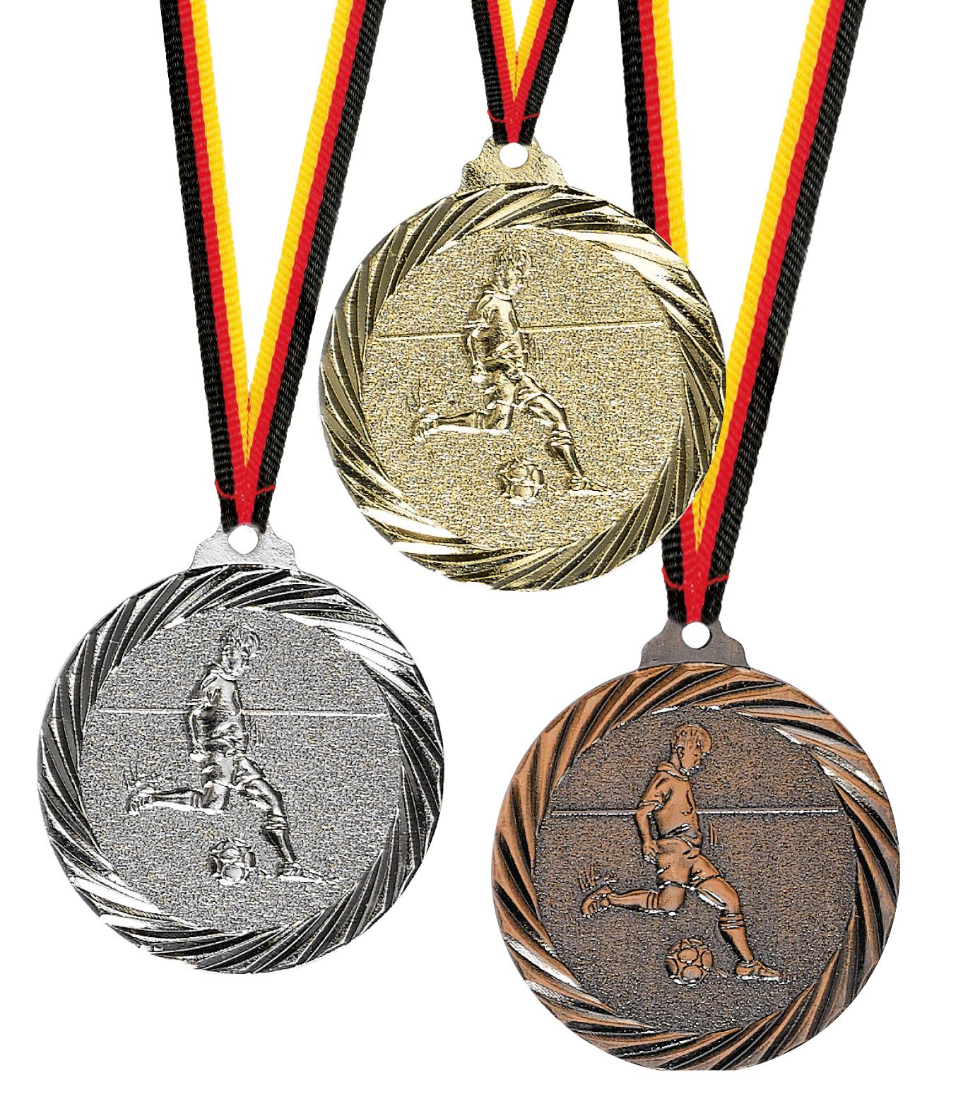 Fußballmedaille Metall geprägt 32mmØ Medaillen Premium hochwertig edel