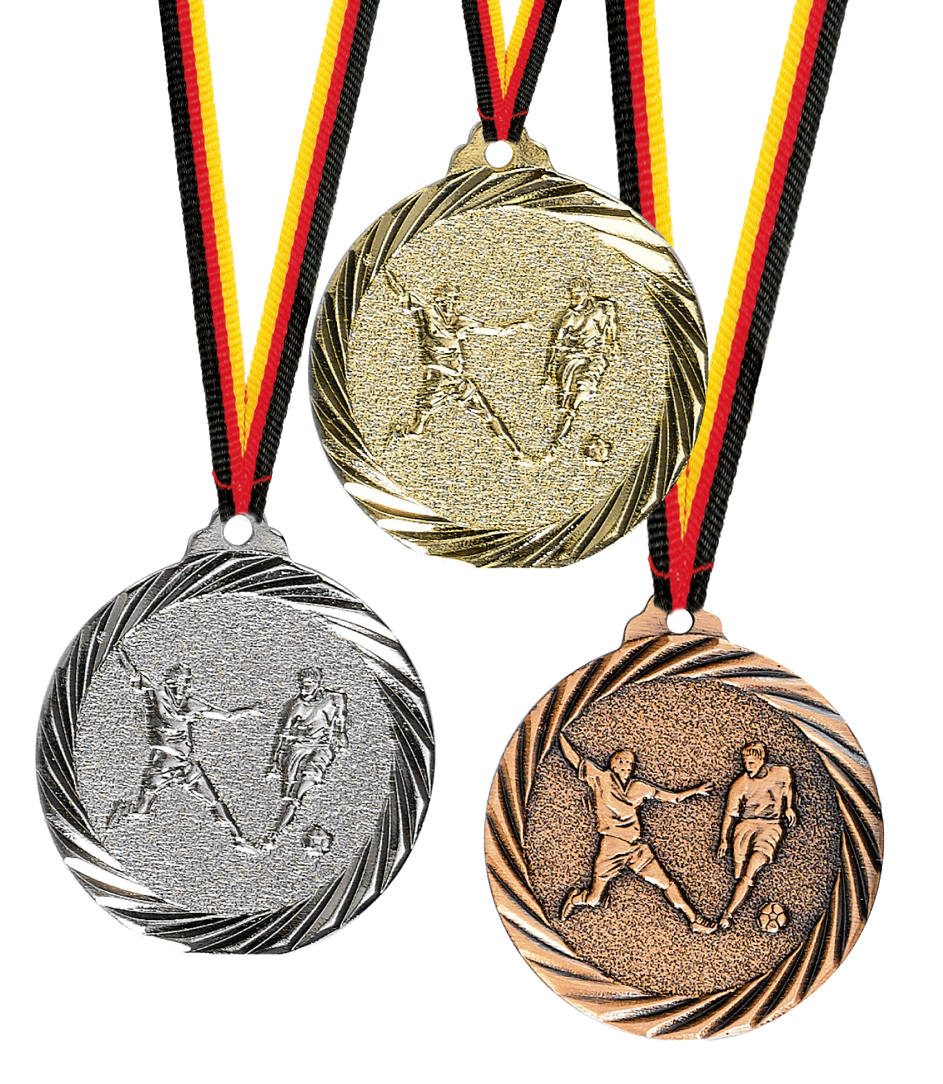 Fußballmedaille Metall geprägt ab 100Stück 32mmØ Medaillen Premium hochwertig edel