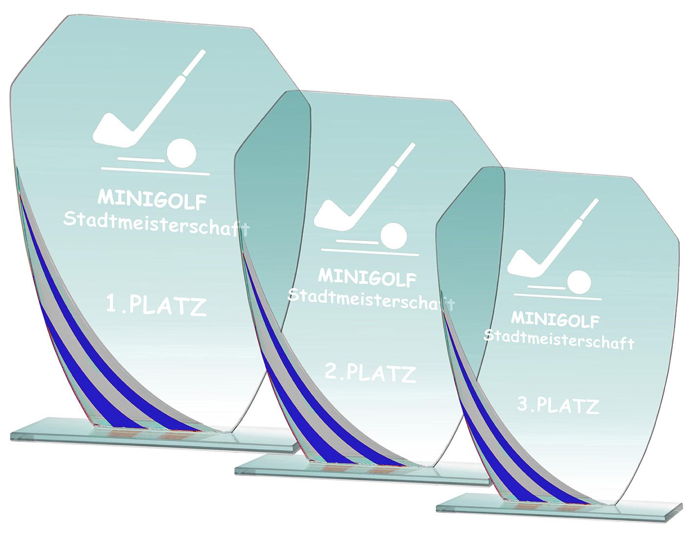 Glaspokal Serie blau 17,5 bis 21,5 cm hoch Glastrophäen