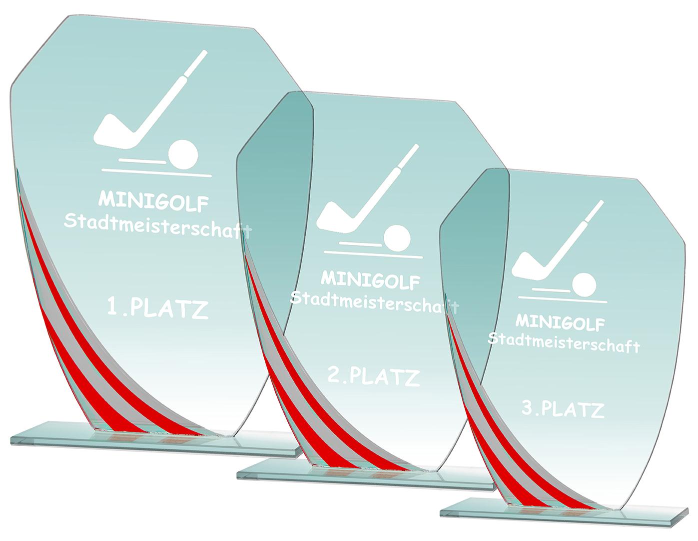 Glaspokal Serie rot 17,5 bis 21,5 cm Glastrophäen
