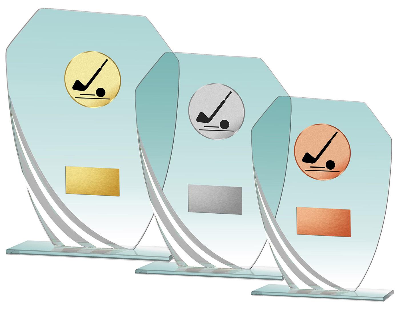 Glaspokal Serie weiß 17,5 bis 21,5 cm hoch Glastrophäen Glastrophäen mit Emblem