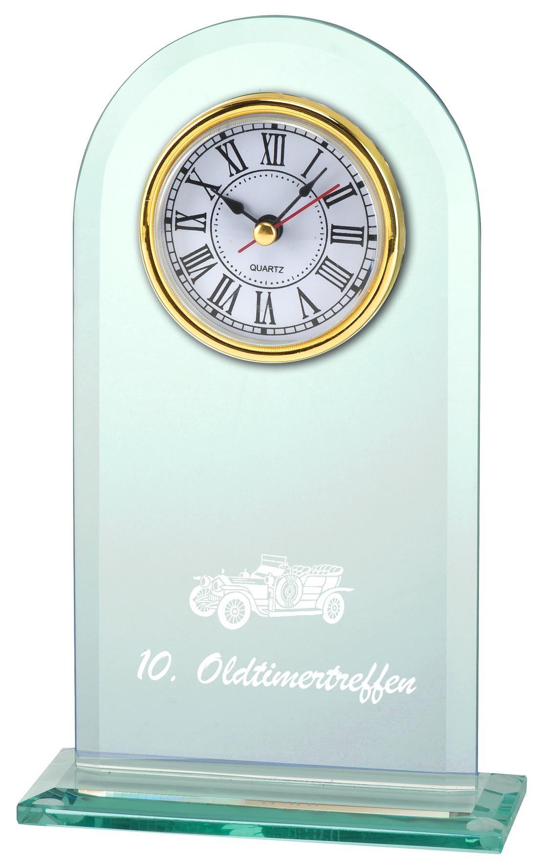 Glastrophäe Uhr 10 x 20 cm Glastrophäen